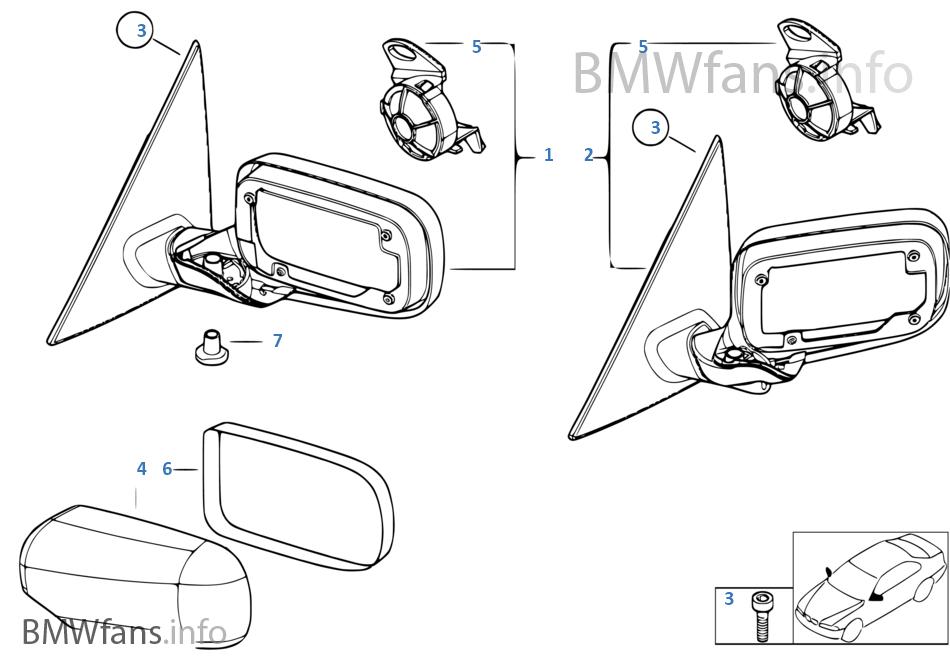 aussenspiegel bmw 3 39 e46 330i m54 europa. Black Bedroom Furniture Sets. Home Design Ideas