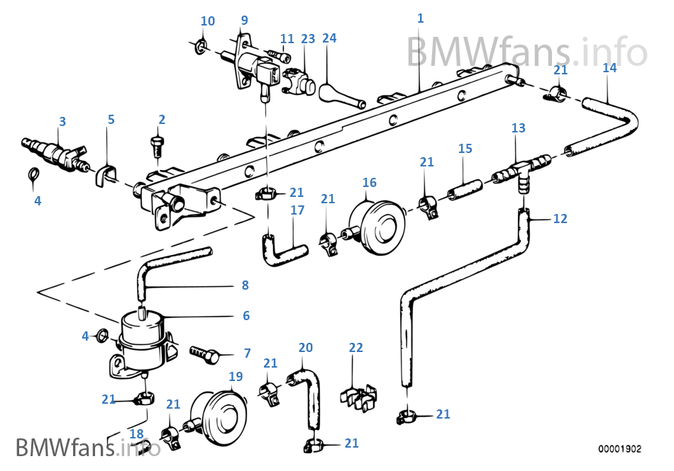 Valves Pipes Of Fuel Injection System Bmw 3 E30 325e