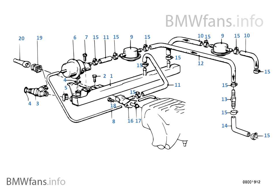 Valves Pipes Of Fuel Injection System Bmw 3 E30 318i