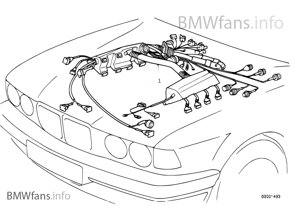 engine wiring harness bmw 5 39 e34 530i m60 usa. Black Bedroom Furniture Sets. Home Design Ideas