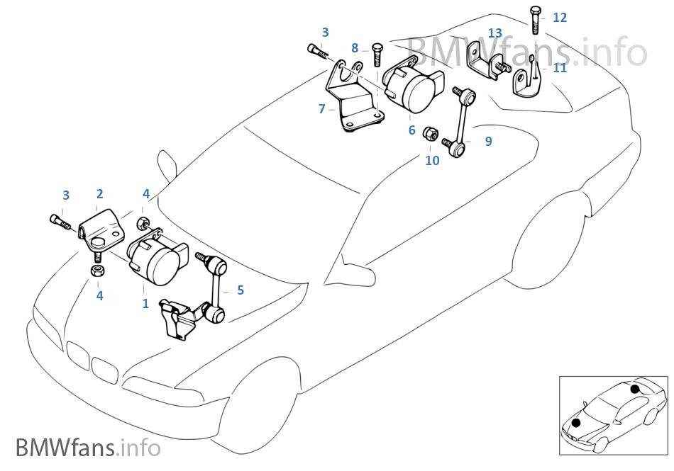 Headlight vertical aim control sensor   BMW 3\' E46 M3 S54 Europe