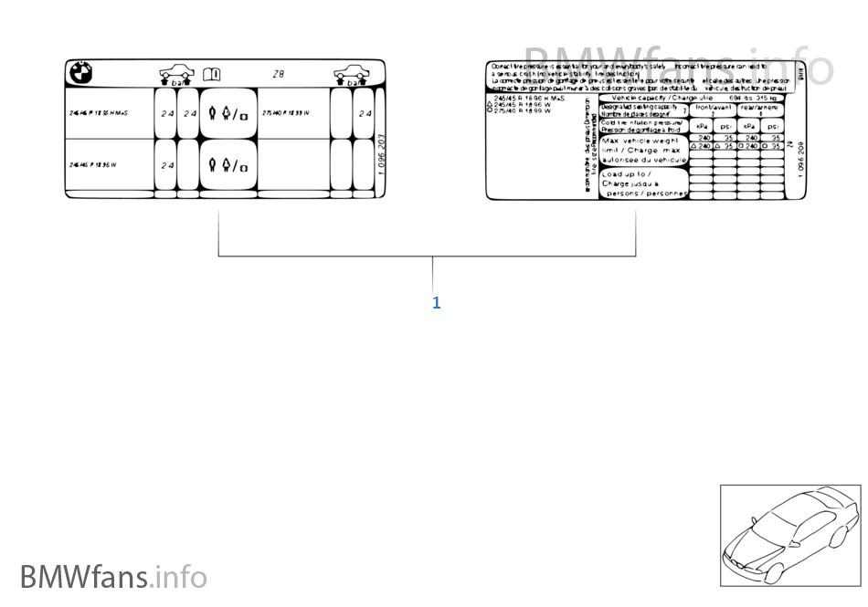 etiquette indicatrice pression des pneus bmw z3 e36 z3 2 8 m52 l 39 europe. Black Bedroom Furniture Sets. Home Design Ideas