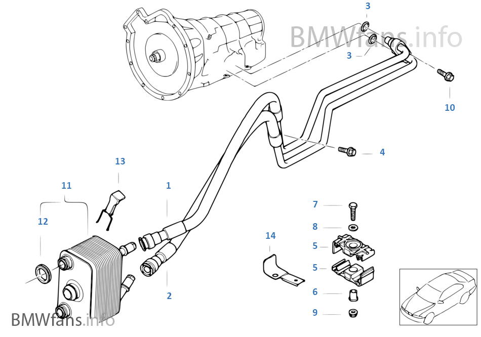 Oil cooler pipe heat exchanger on bmw e39 engine diagram