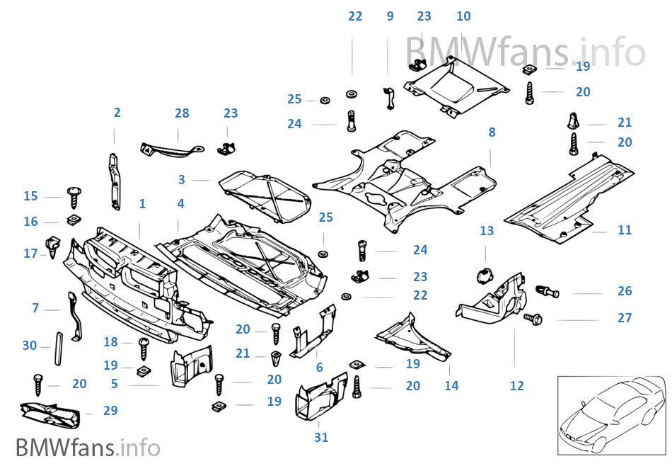 unidentified engine compartment screening parts