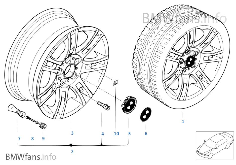 BMW alloy wheel, M double spoke 97