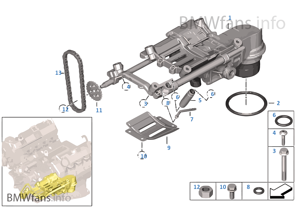 Lubrication system oil pump with drive bmw x5 e53 x5 4 for Bmw x5 motor oil