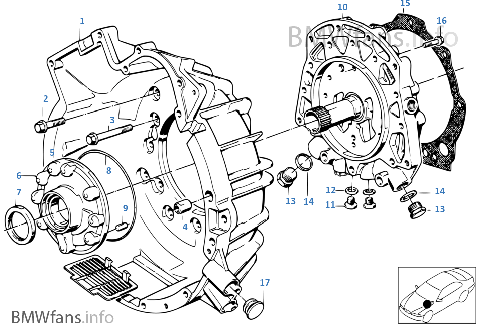 Zf 4hp22/24 housing parts/lubric system | BMW 6' E24 635CSi M30 Europe