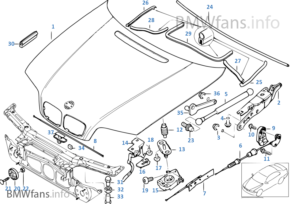 engine hood  mounting parts