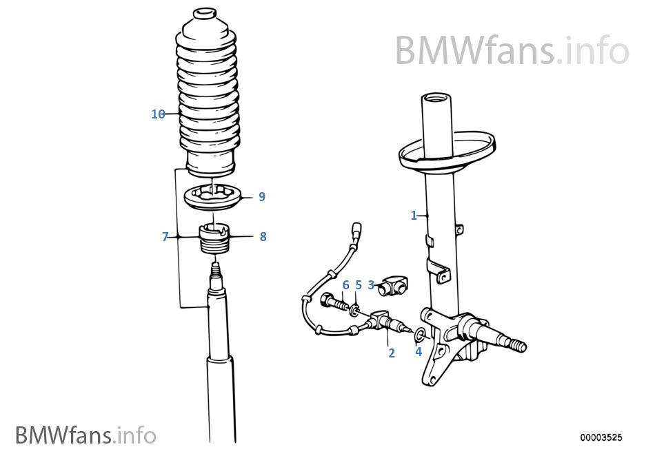 Front spring strut/shock absorber