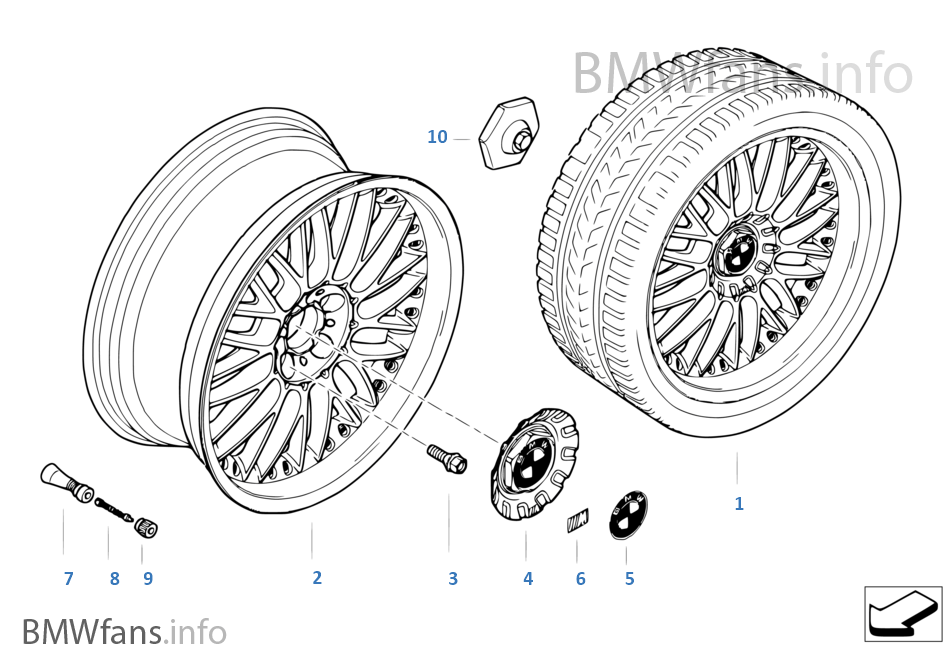 Διαιρούμ.ζάντα BMW M σταυροειδ.ακτίν.101