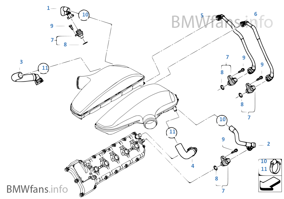 crankcase-ventilation  bmw / m5 e60 sedan europe s85