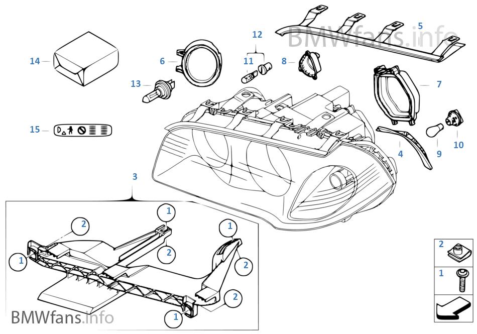 Einzelteile Scheinwerfer | BMW X3 E83 X3 2.0i N46 Europa