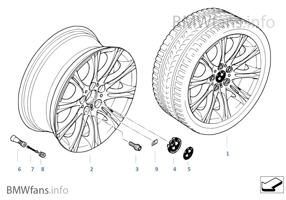 Bmw Alloy Wheel M Double Spoke 135 Bmw 5 E60 530i M54