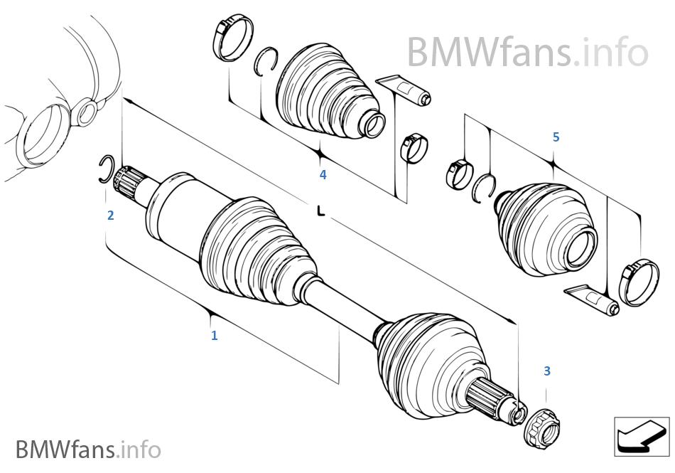 Final drive(frnt axle), output shaft, 4whl | BMW X5 E70 X5 M S63 USA