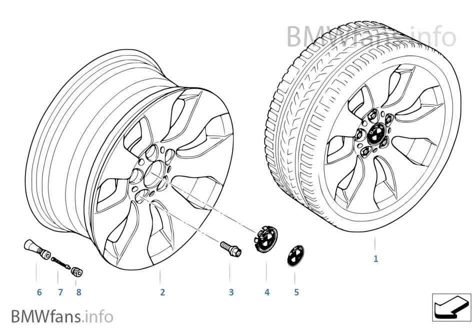 bmw light alloy wheel  spider spoke 158