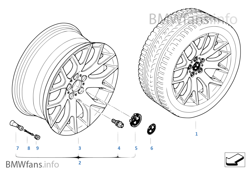 BMW light alloy wheel, cross spoke 177