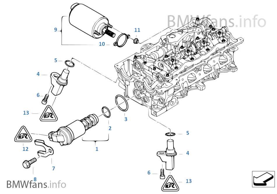 bmw e46 engine with Cylinder Head Electr Add On Parts on Lubrication system oil filter together with Air Pump F Vacuum Control additionally 2000 Bmw 323i Vacuum Hose Diagram in addition 2008 Bmw X3 Belt Diagram likewise M43 I205207461.