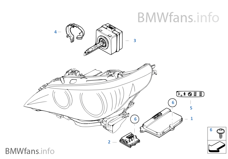 bmw 530i headlight parts diagram