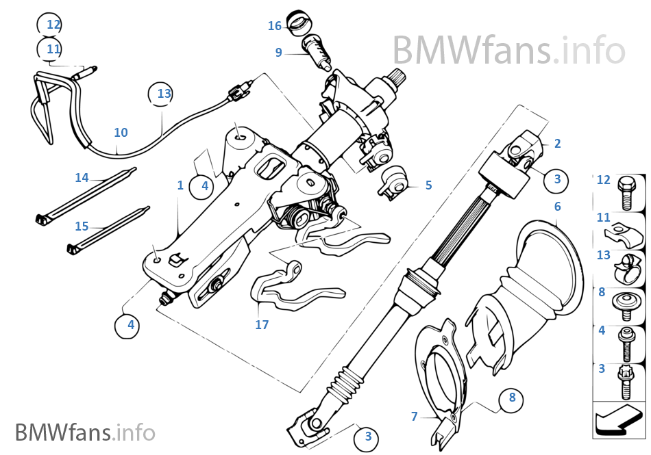 steering column man adjust   mount  parts