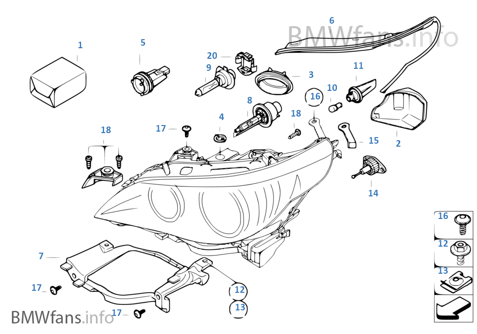bmw 335i headlight diagram