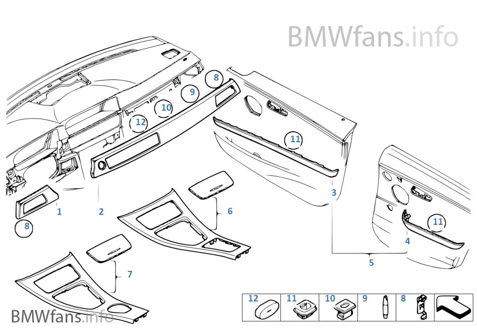 BMW Perf. inserts d.planche d.bord carb.