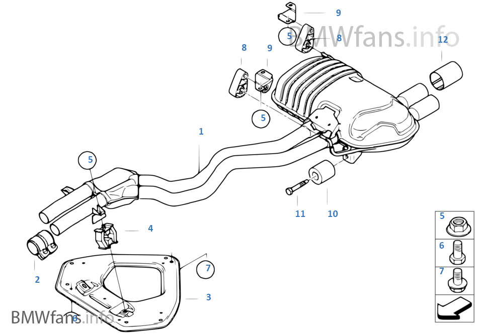 Exhaust System Rear Bmw Z4 E85 Z4 3 0si N52 Usa