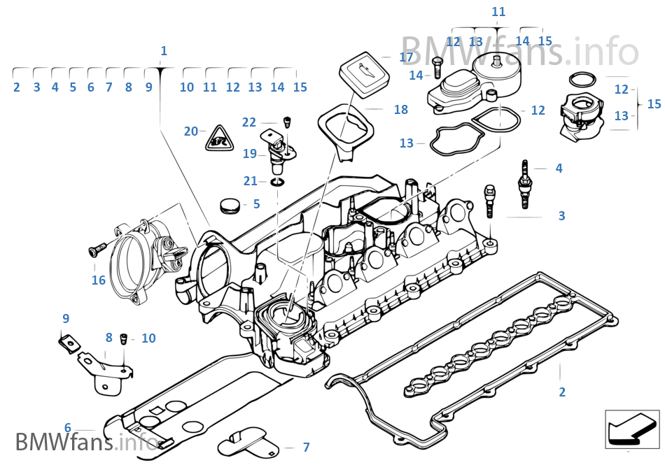 Cylinder head cover on bmw 528i motor diagram