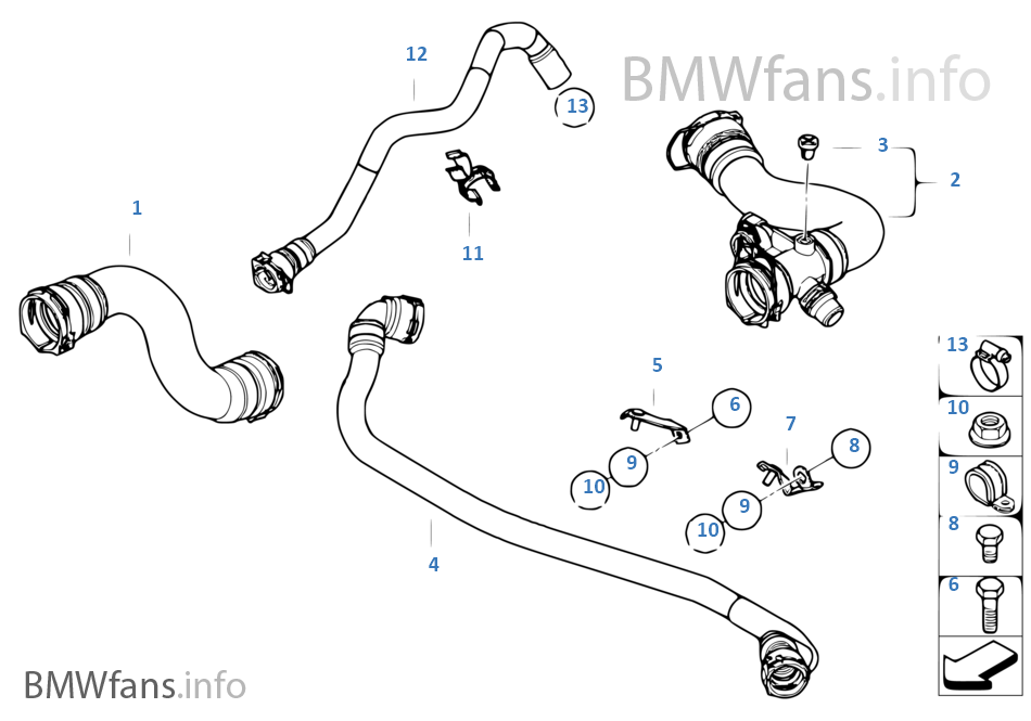 Cooling System Water Hoses Bmw X3 E83 Lci X3 2 5si N52n Europe