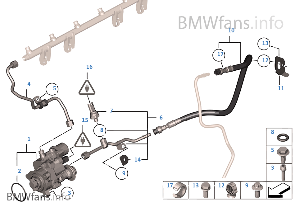 High-pressure pump/Tubing | BMW 7' F01 740i N54 Europe