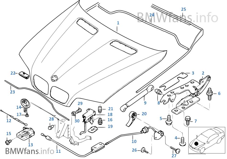 engine hood/mounting parts | bmw x5 e53 x5 4.4i n62 europe  bmwfans.info