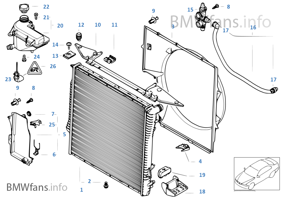 2001 bmw x5 radiator diagram
