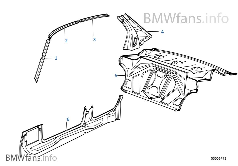 seitengerippe trennwand bmw 5 39 e34 525i m20 europa. Black Bedroom Furniture Sets. Home Design Ideas