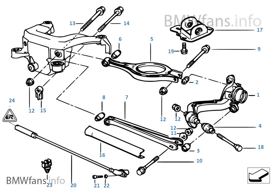 Rear Axle Supportwheel Suspension Bmw 3 E36 325i M50 Europe