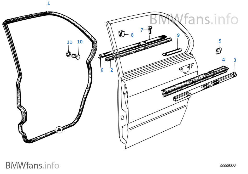 Door Parts Catalog : Door weatherstrip rear bmw e i m europe