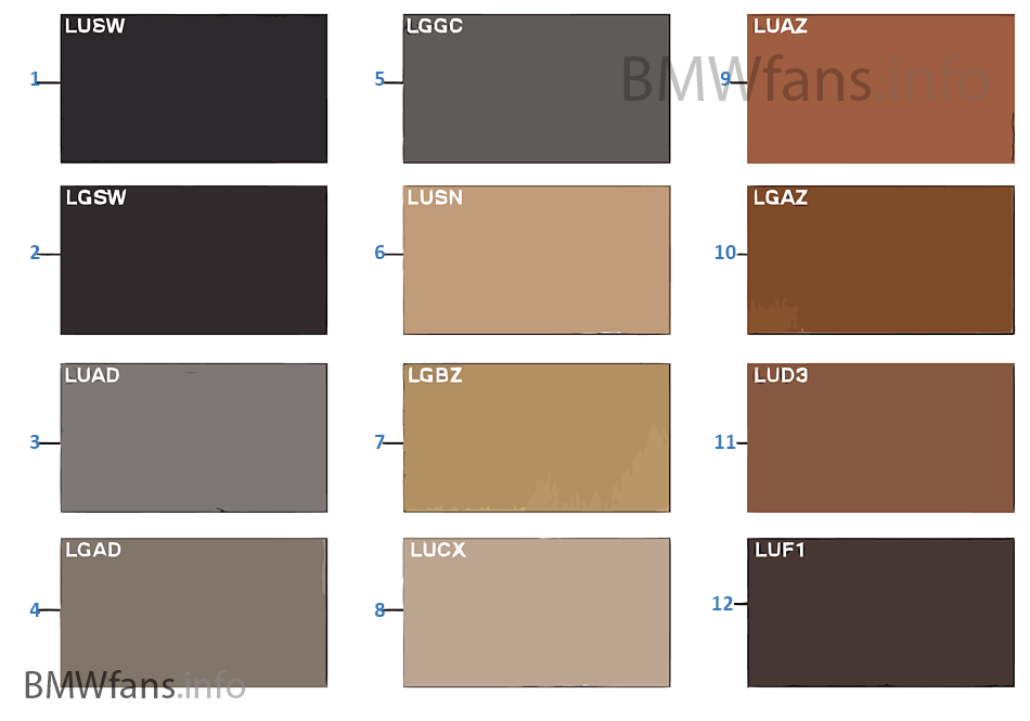 sample chart upholstery colors leather bmw x3 e83 x3 2. Black Bedroom Furniture Sets. Home Design Ideas