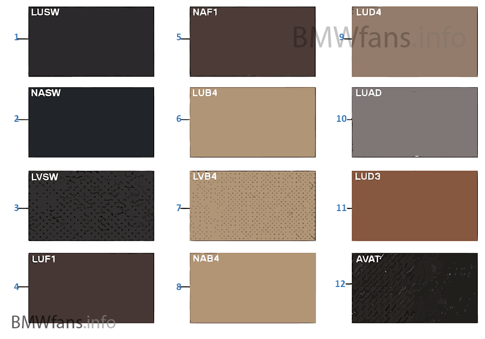 Samples, upholstery colors, leather/fabr  BMW X5 E70 X5 3.5d M57N2 USA