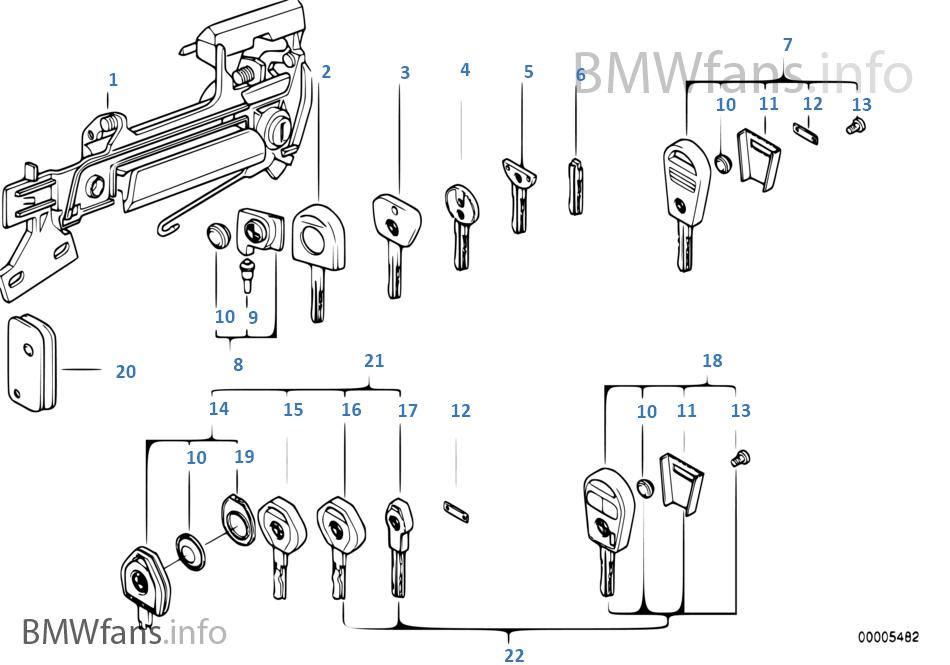Door handle front/lock/key   BMW 5' E34 540i M60 USA