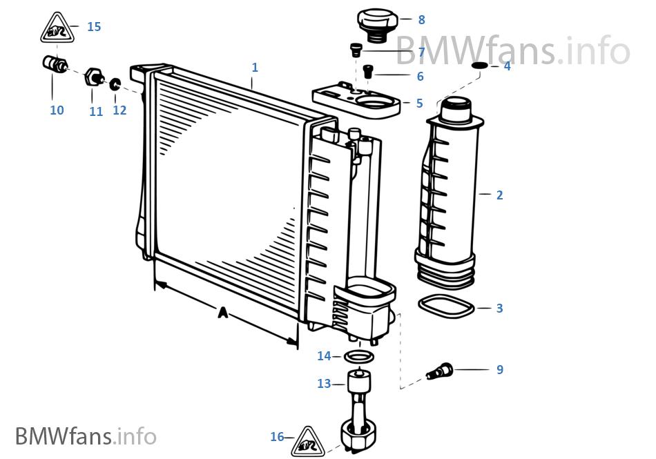 Radiador de água/depósito de compensação