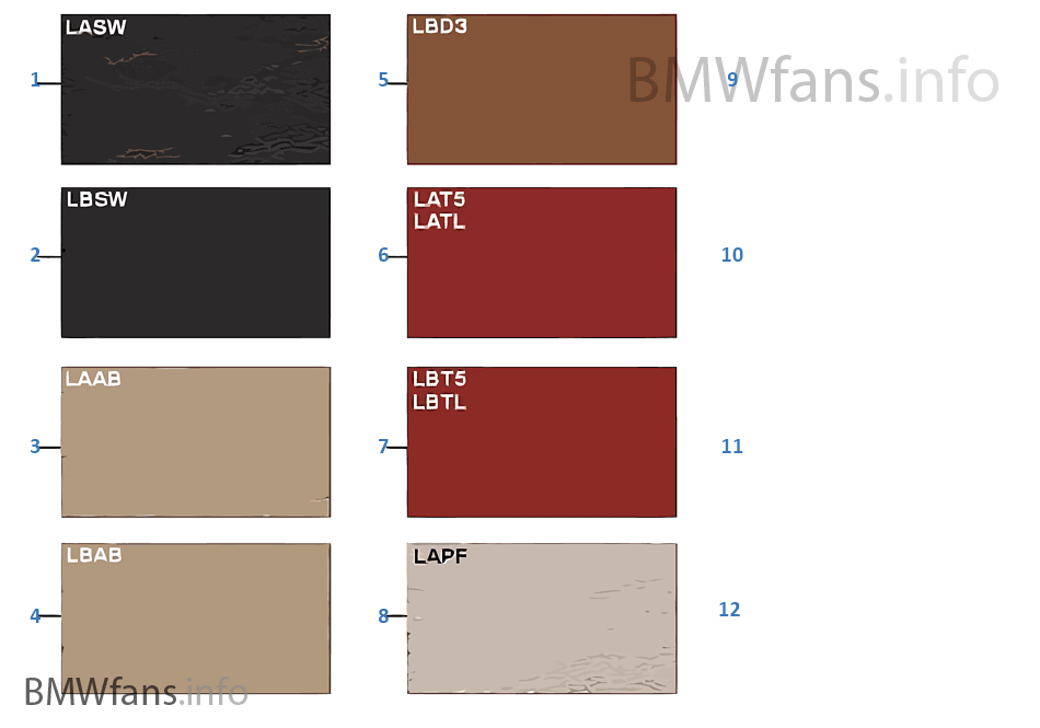 Sample Chart Upholstery Colors Leather Bmw Z4 E85 Z4 2