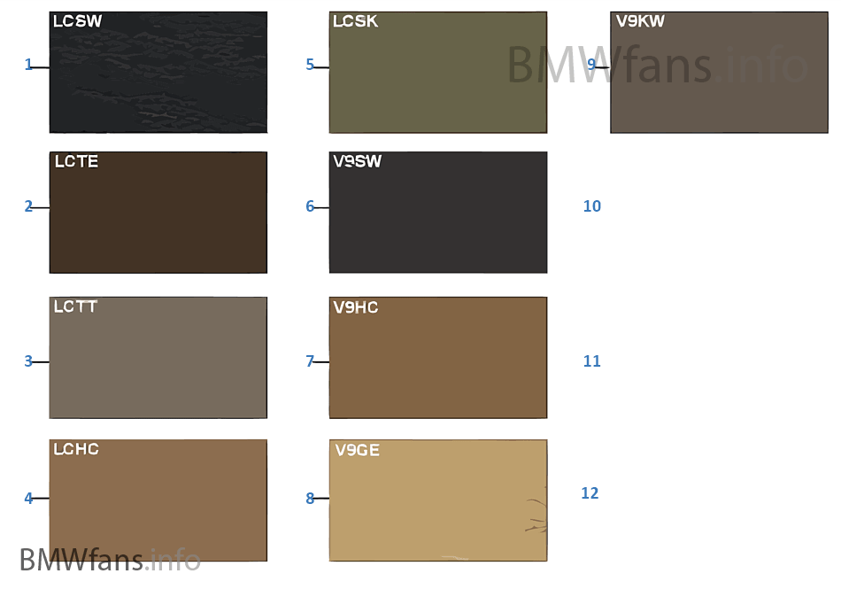 Sample Chart Upholstery Colors Leather Bmw X5 E53 X5 46is M62