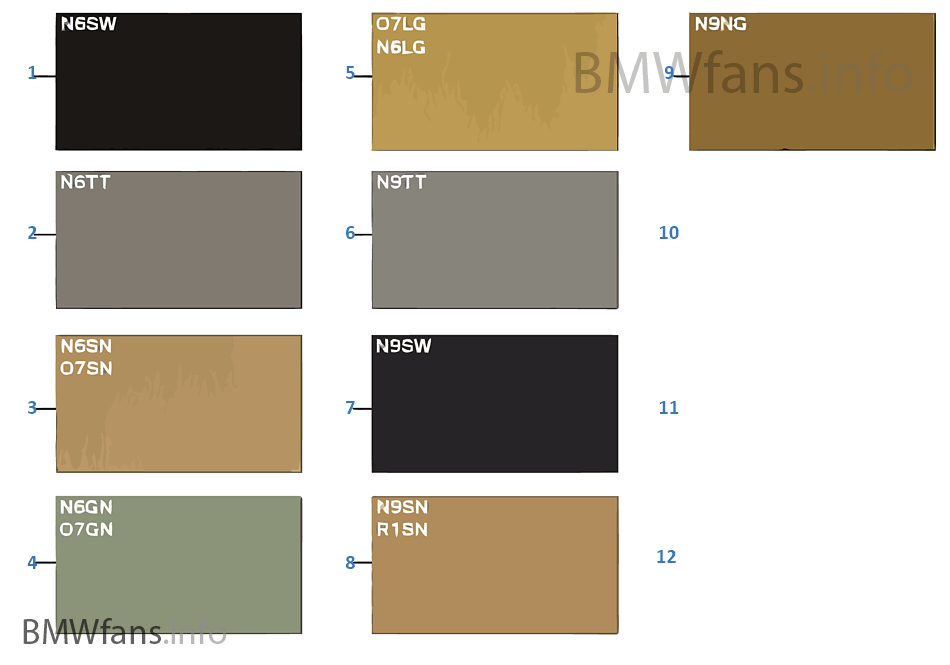 Sample Chart Upholstery Colors Leather Bmw 5 E39 535i M62 Europe