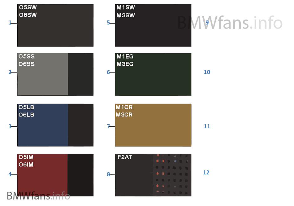 Sample Chart Upholstery Colors Leather Bmw 5 E39 M5 S62 Europe
