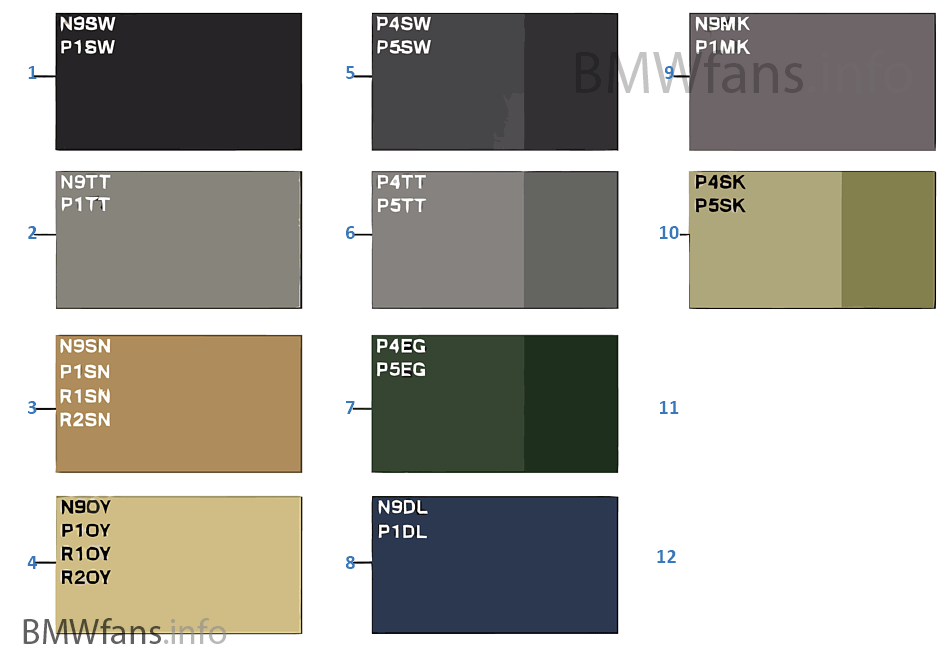 Sample Chart Upholstery Colors Leather Bmw 7 E38 750i M73 Europe