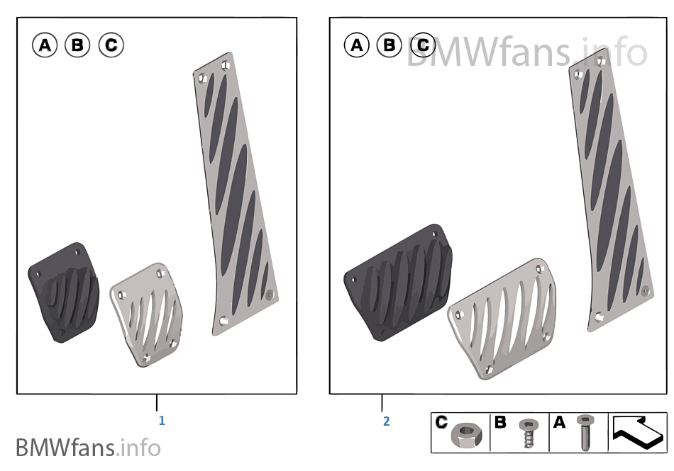 BMW Performance-pedalen, aluminium