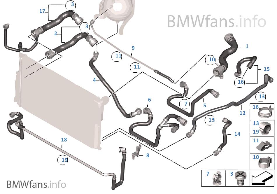 cooling system coolant hoses bmw 5\u0027 f10 528i n20 usa Audi TT Cooling System Diagram cooling system coolant hoses