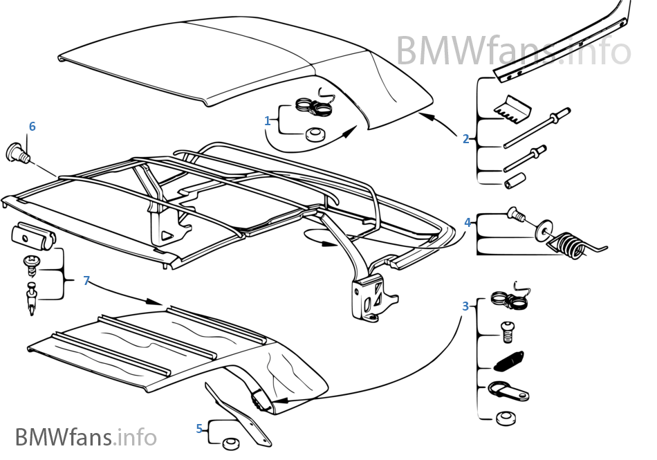 Folding top repair kits on car radiator diagram