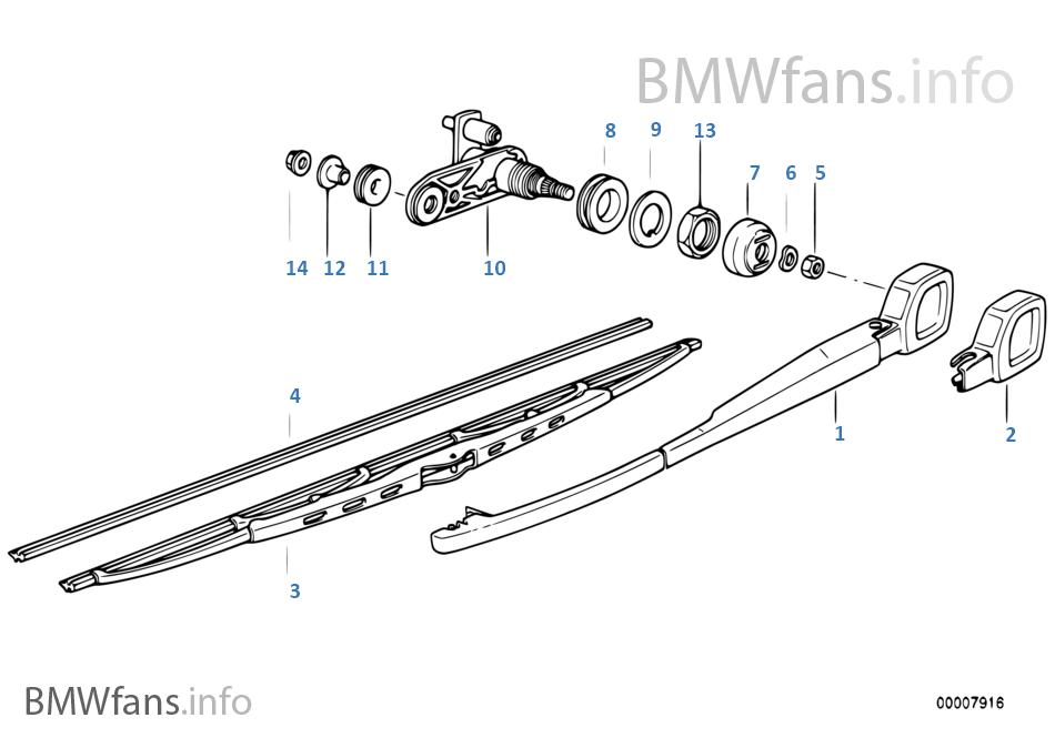 Single parts for rear window wiper | BMW 5' E34 540i M60 Europe