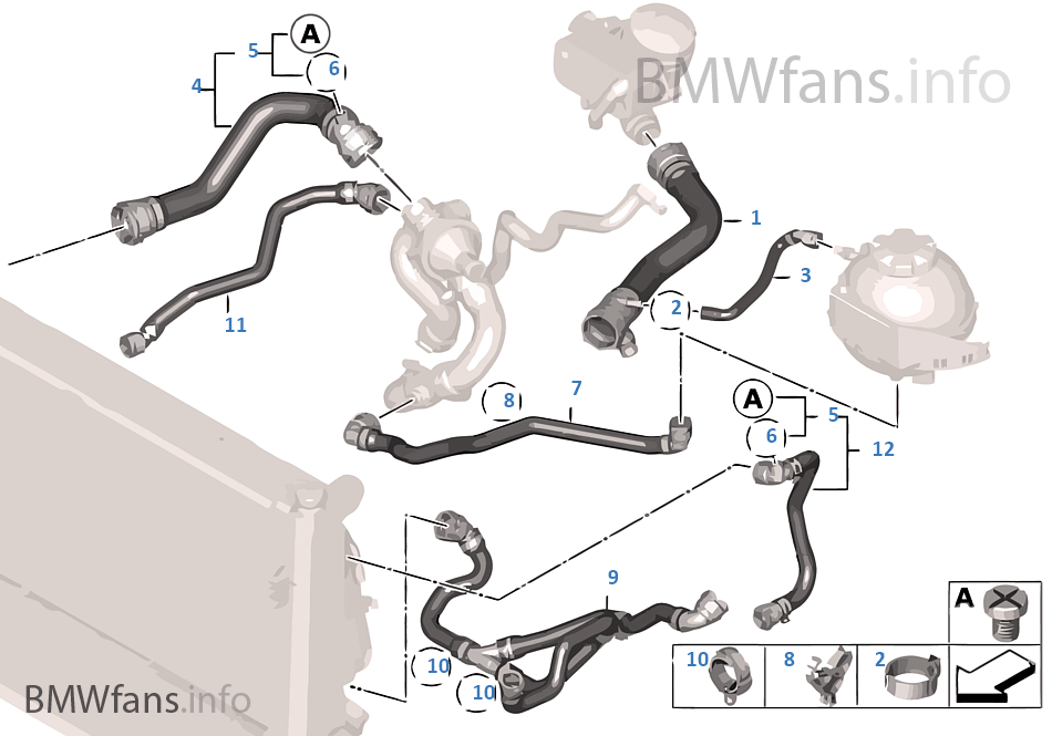 cbwr cooling system coolant hoses bmw 3' f30 320i n20 europe
