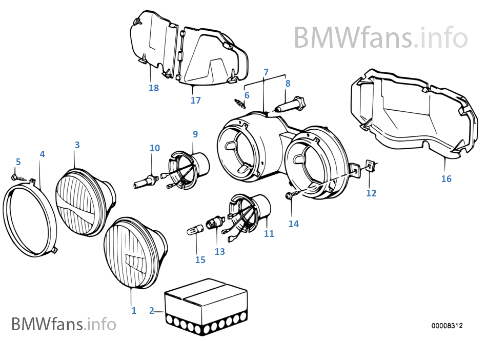 Single components for headlight