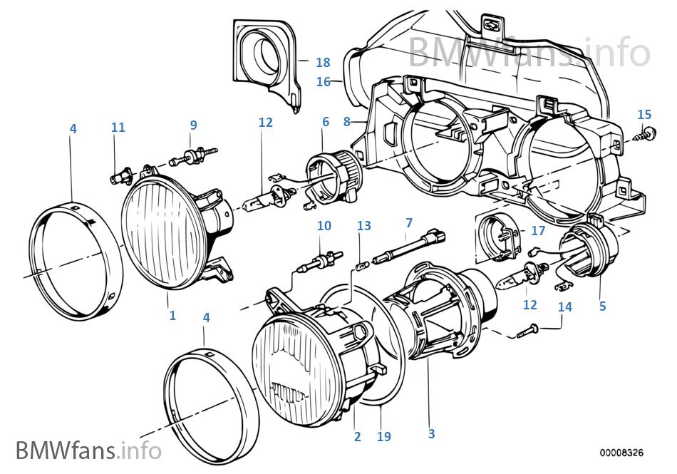 single parts f ellipsoidal headlight